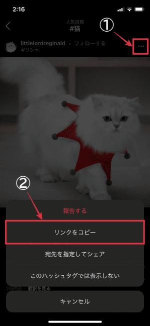 step2.「リンクをコピー」をタップの画像