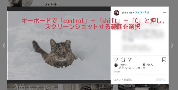 step1.キーボードで「control」+「shift」+「C」を押し、スクリーンショットを行うの画像